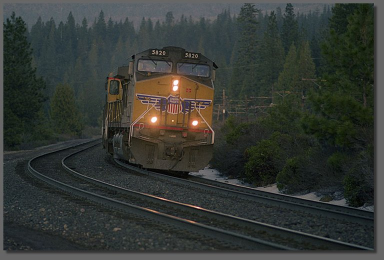 Southbound train at north switch, Black Butte